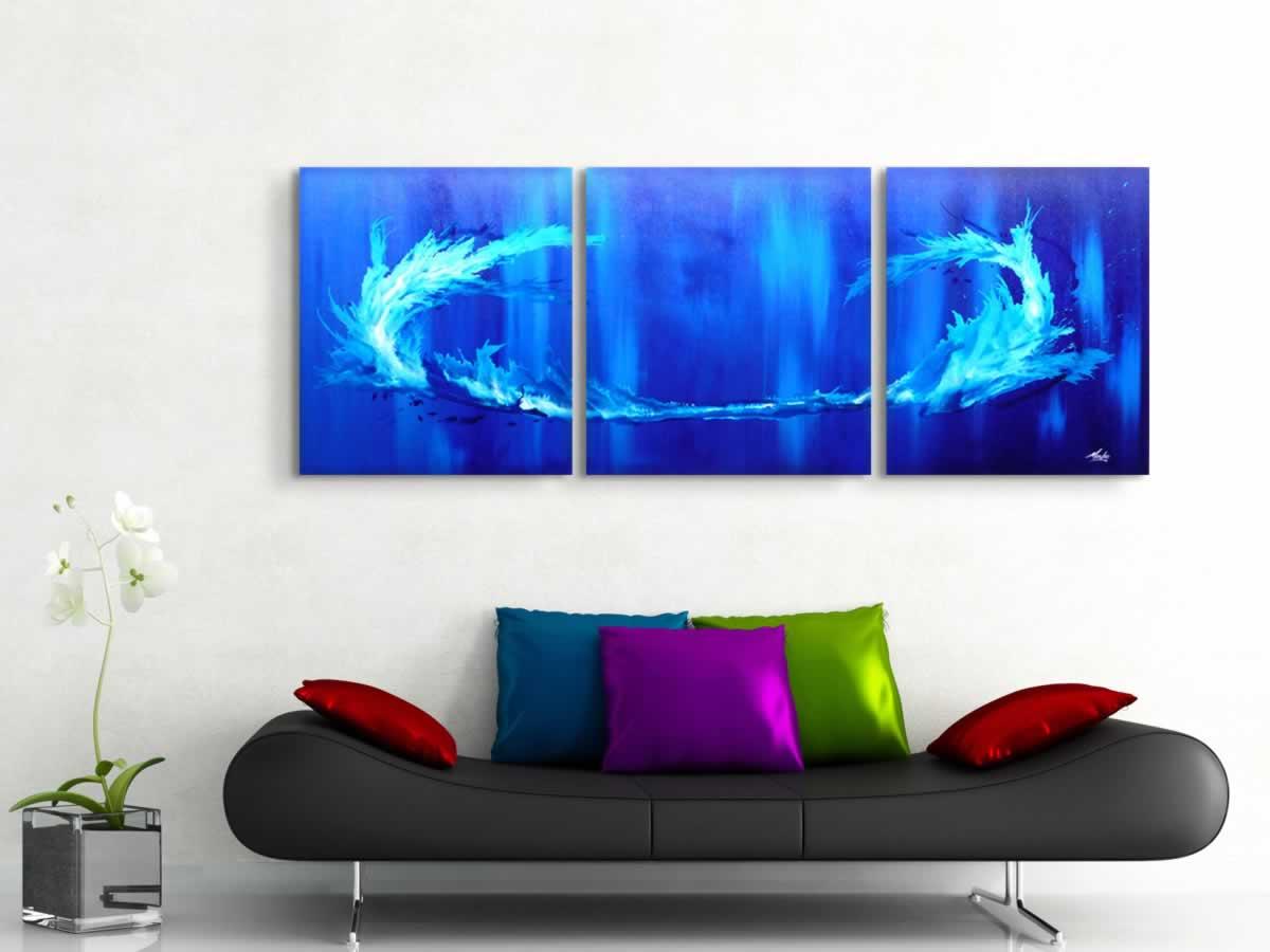 Blue Tidal Wave  - Original Canvas Art - Lifestyle Image