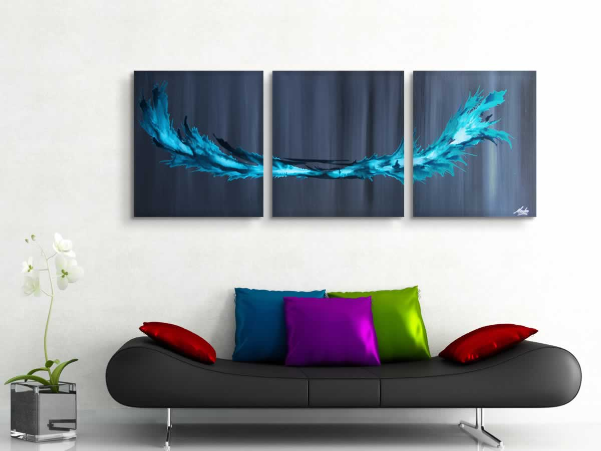 Turquoise Splash  - Original Canvas Art - Lifestyle Image