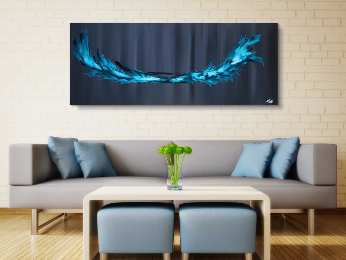 Turquoise Splash  - Original Canvas Art - Alternate Image