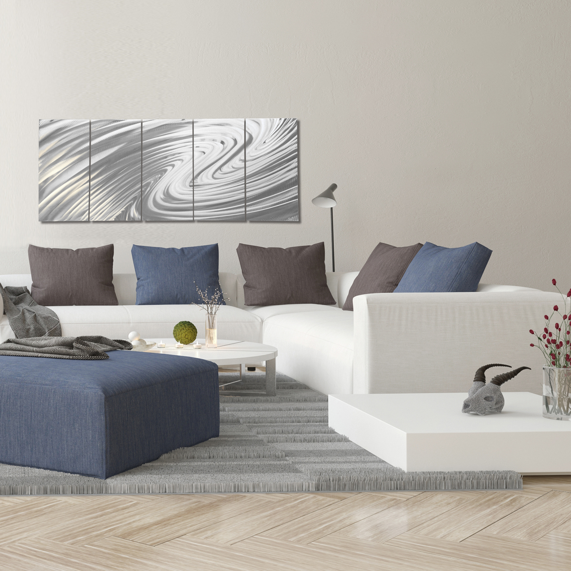 Modern Metal Art 'The Wave' - Soothing Wavy Artwork on Natural Aluminum - Lifestyle View