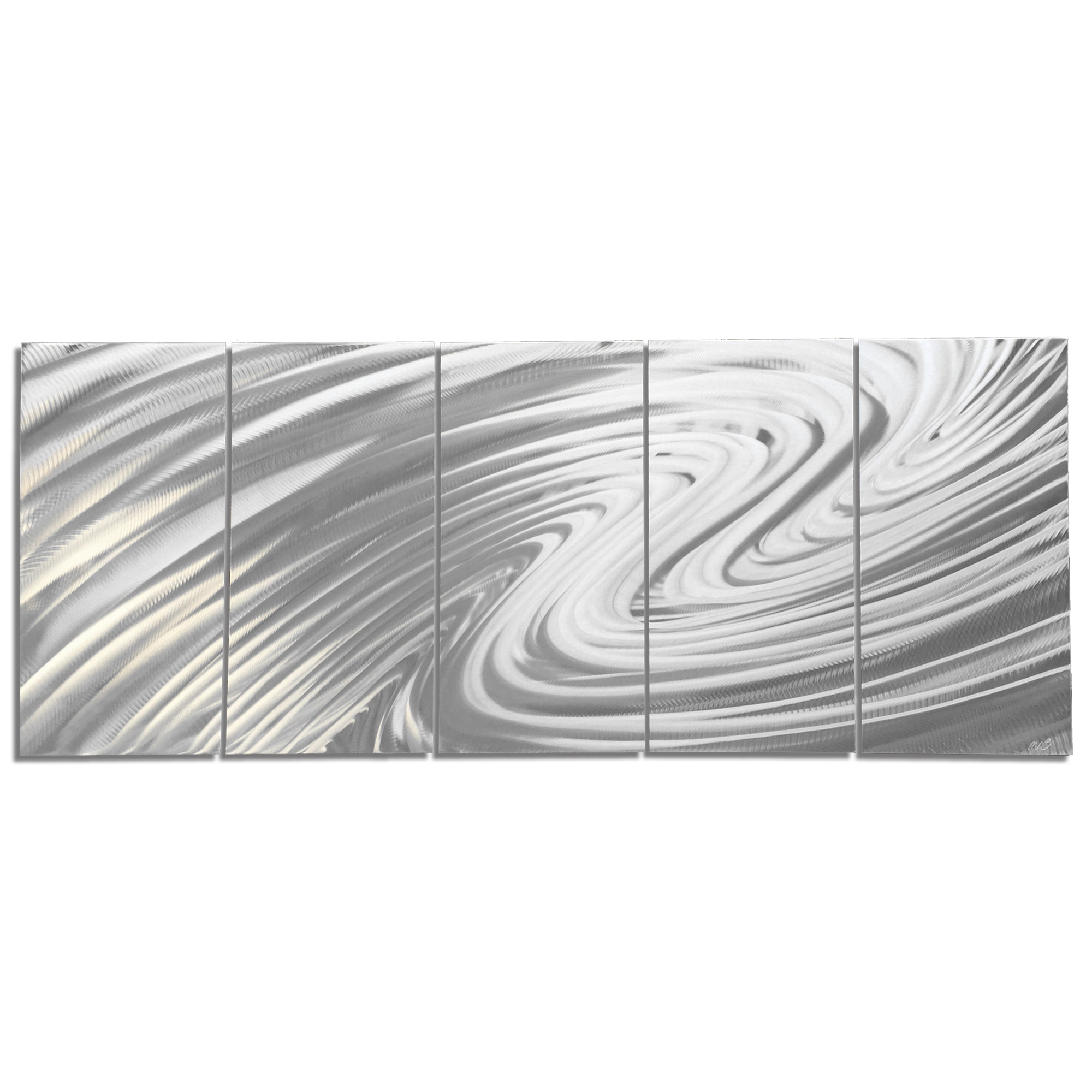 Modern Metal Art 'The Wave' - Soothing Wavy Artwork on Natural Aluminum