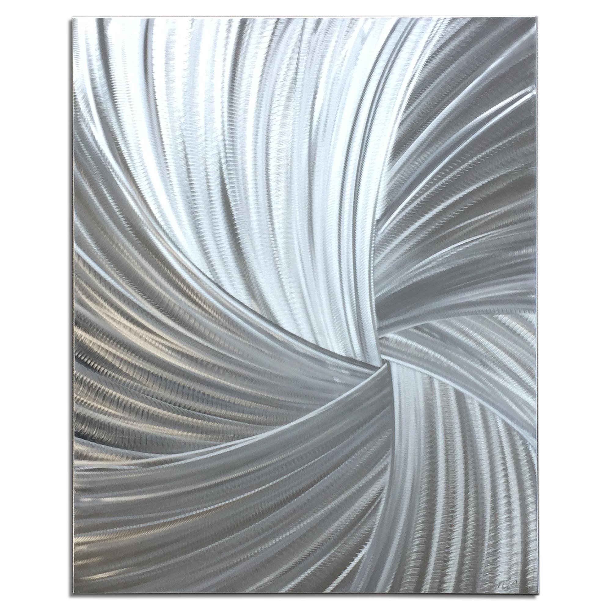 Starburst Metal Art 'Within the Folds' - Modern Artwork on Natural Aluminum