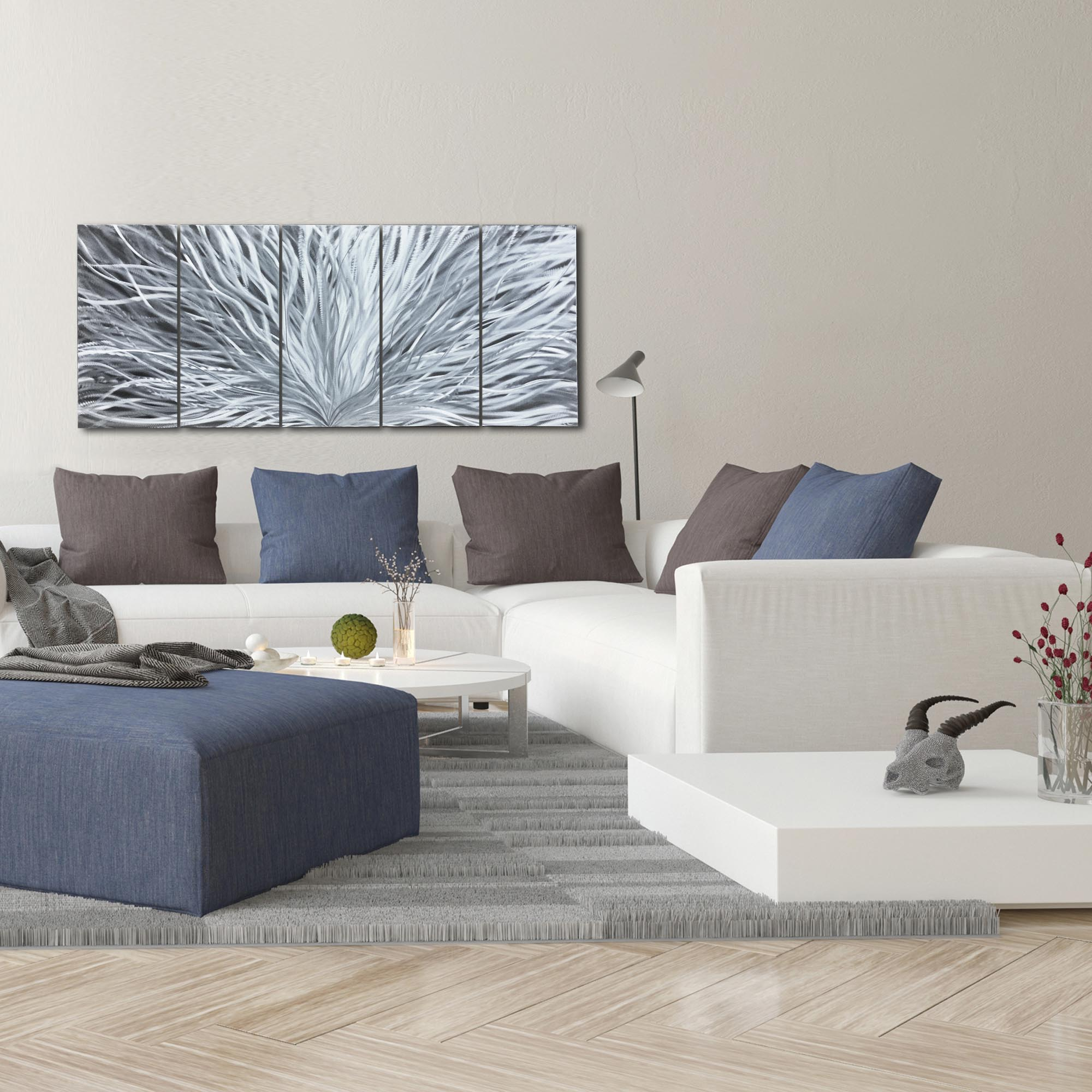 Blooming by Helena Martin - Abstract Metal Art on Natural Aluminum - Lifestyle View