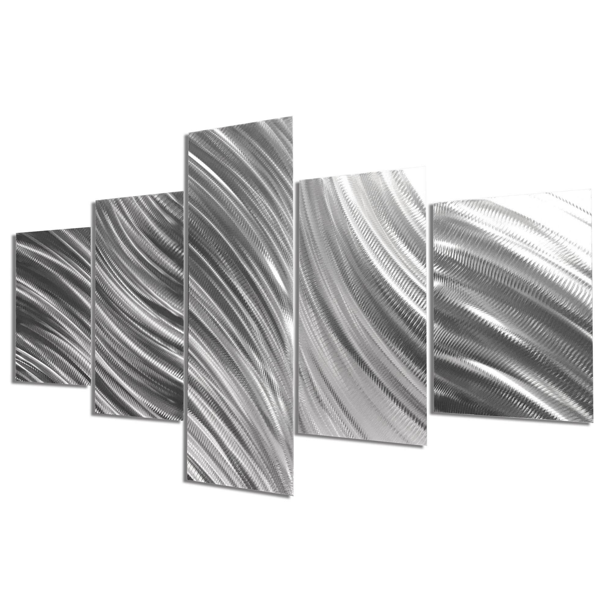 Columnar Flow 64x36in. Natural Aluminum Abstract Decor - Image 2