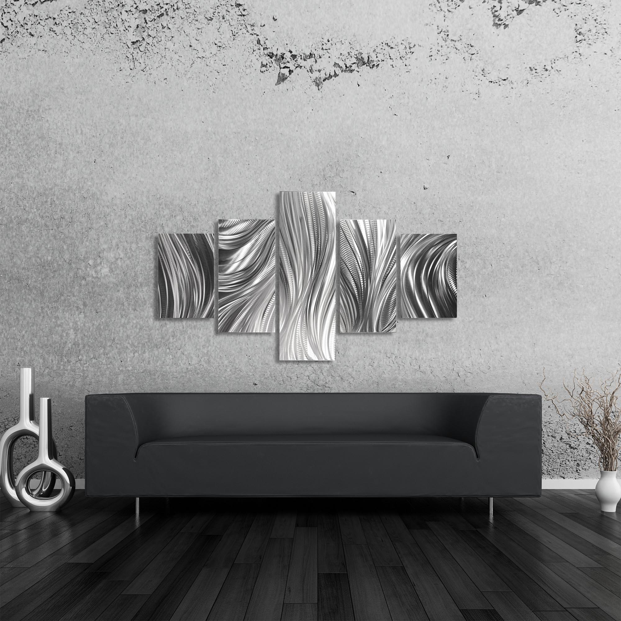 Columnar Plumage 64x36in. Natural Aluminum Abstract Decor - Lifestyle View