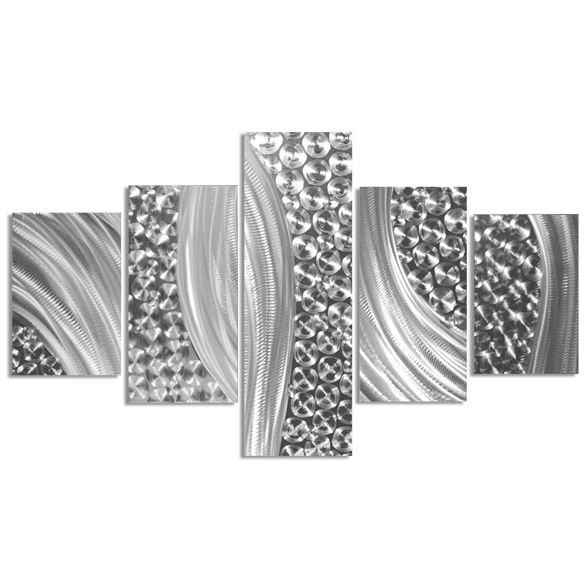 Columnar Riverbed 64x36in. Natural Aluminum Abstract Decor