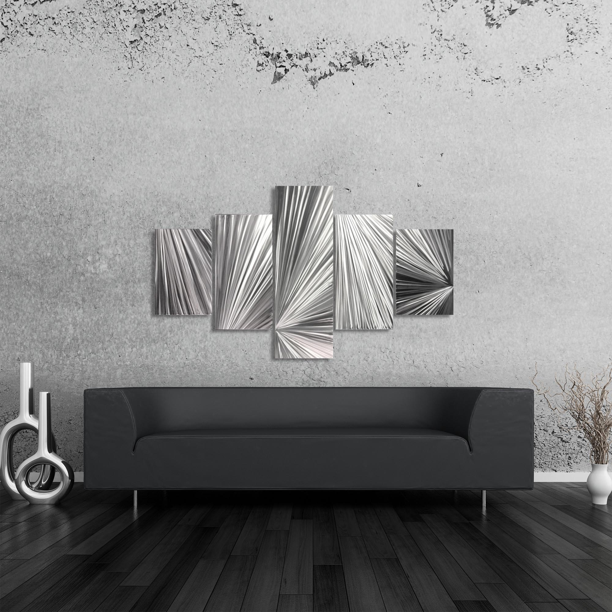 Columnar Light 64x36in. Natural Aluminum Abstract Decor - Lifestyle View