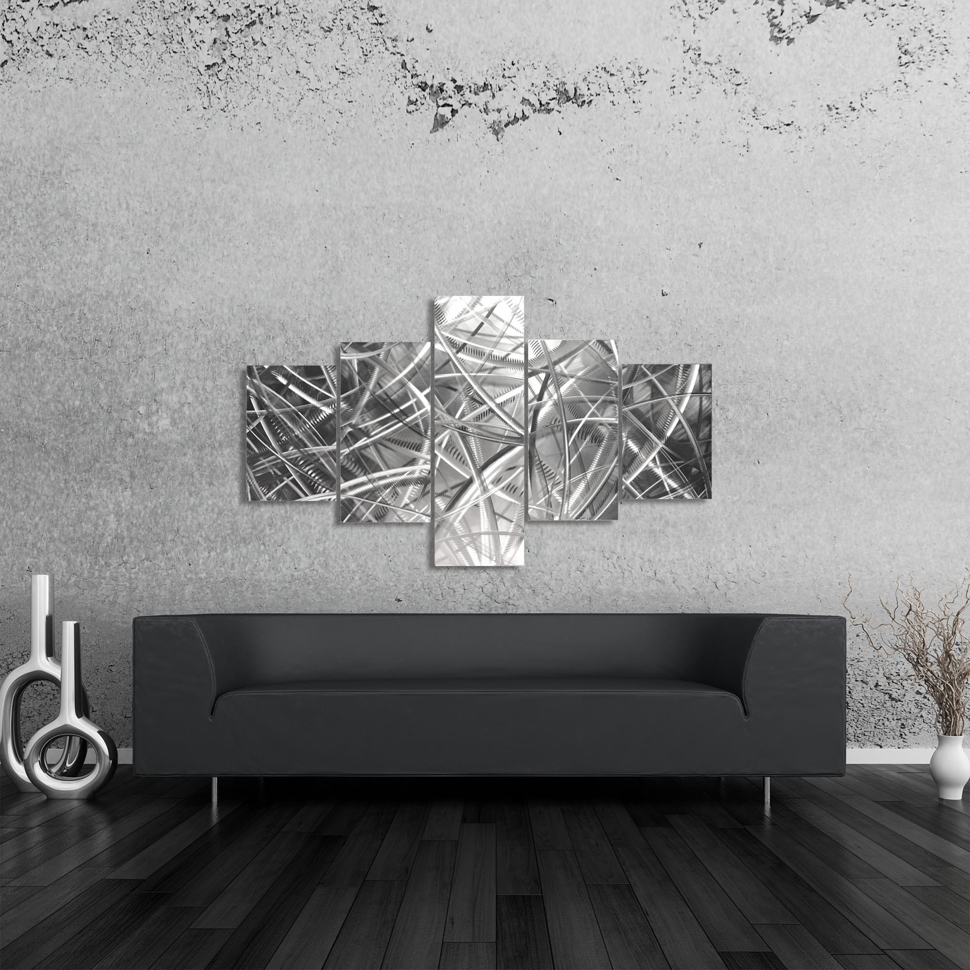 Columnar Fibers 64x36in. Natural Aluminum Abstract Decor - Lifestyle View