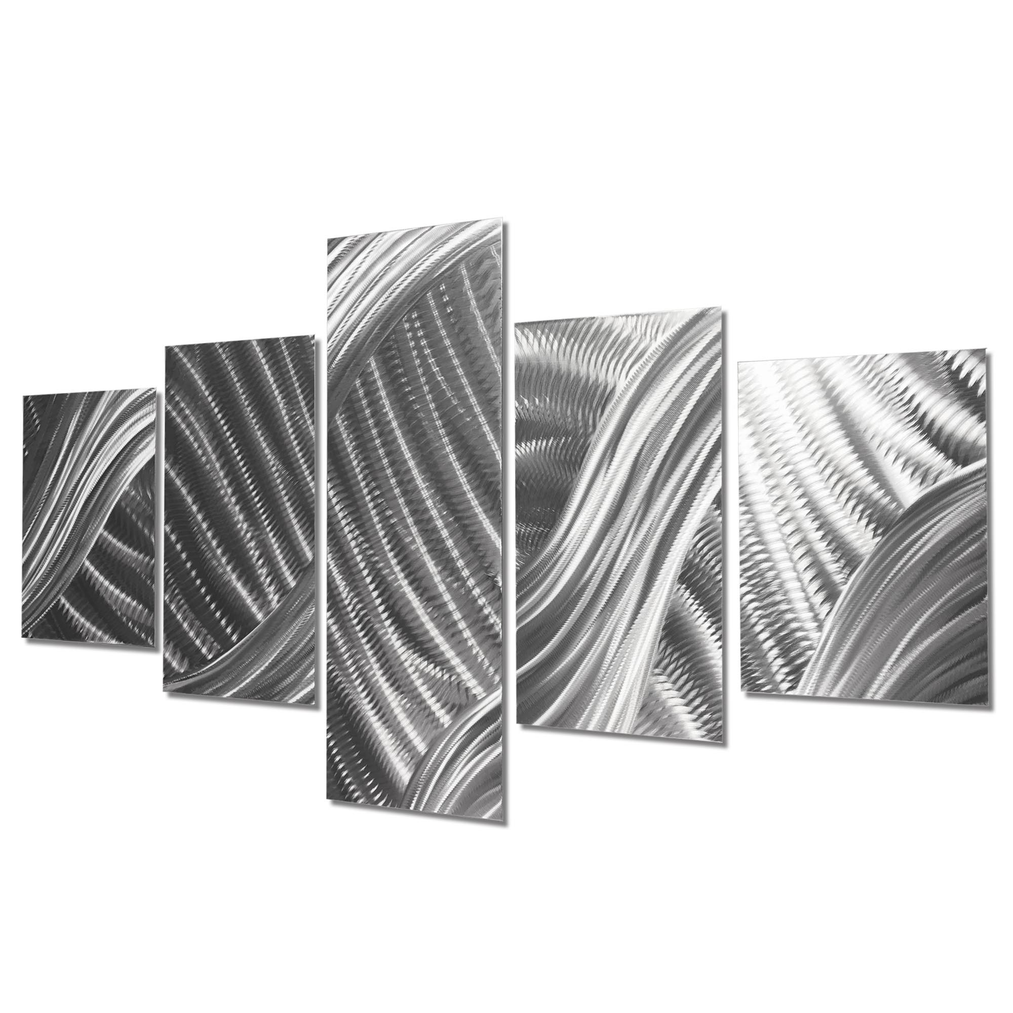 Columnar Brushstrokes 64x36in. Natural Aluminum Abstract Decor - Image 2