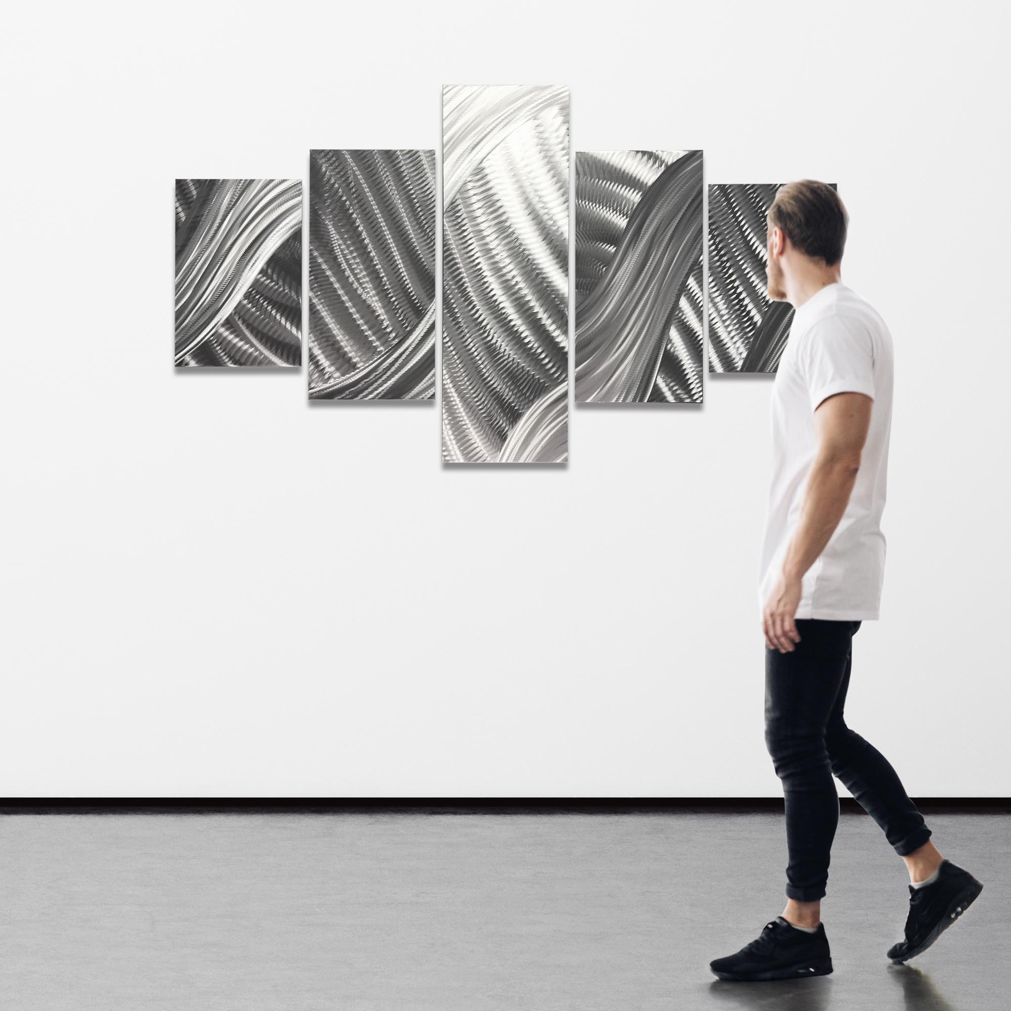 Columnar Brushstrokes 64x36in. Natural Aluminum Abstract Decor - Image 3
