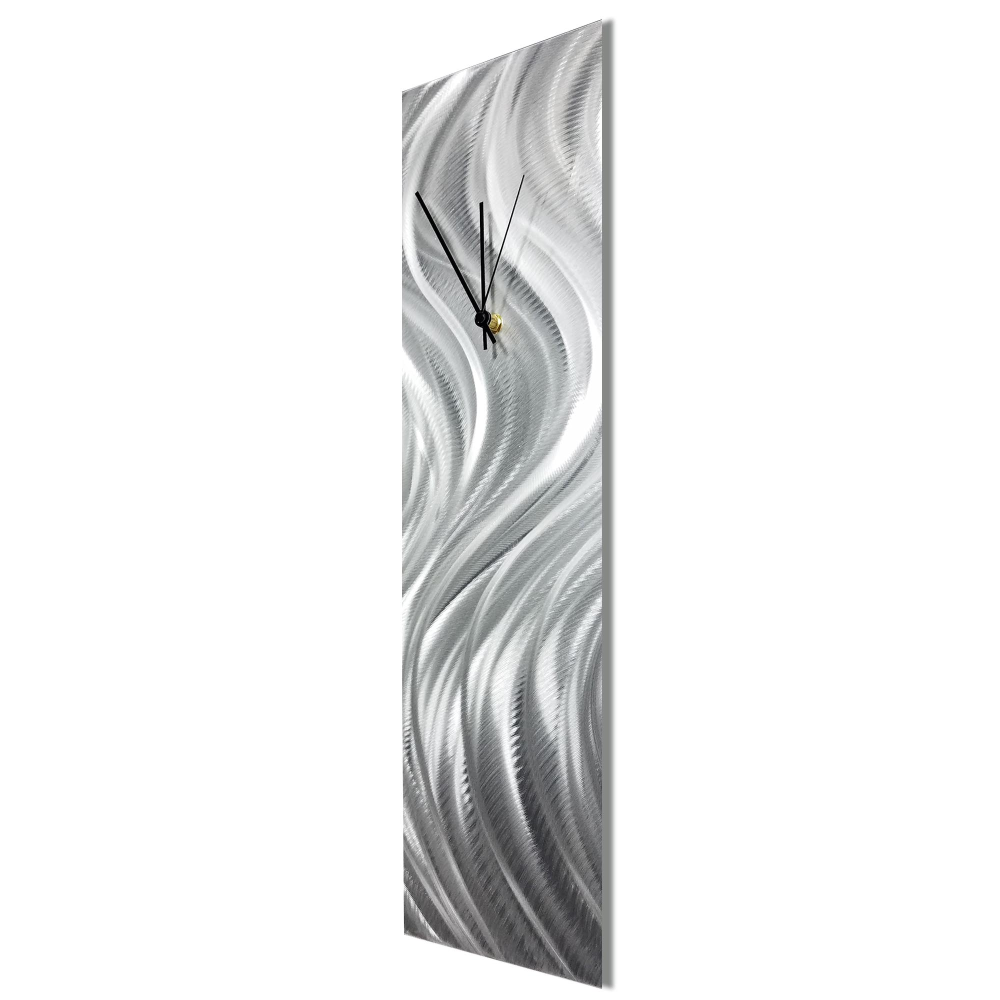 Silver River Clock by Helena Martin Contemporary Wall Clock on Natural Aluminum - Image 2