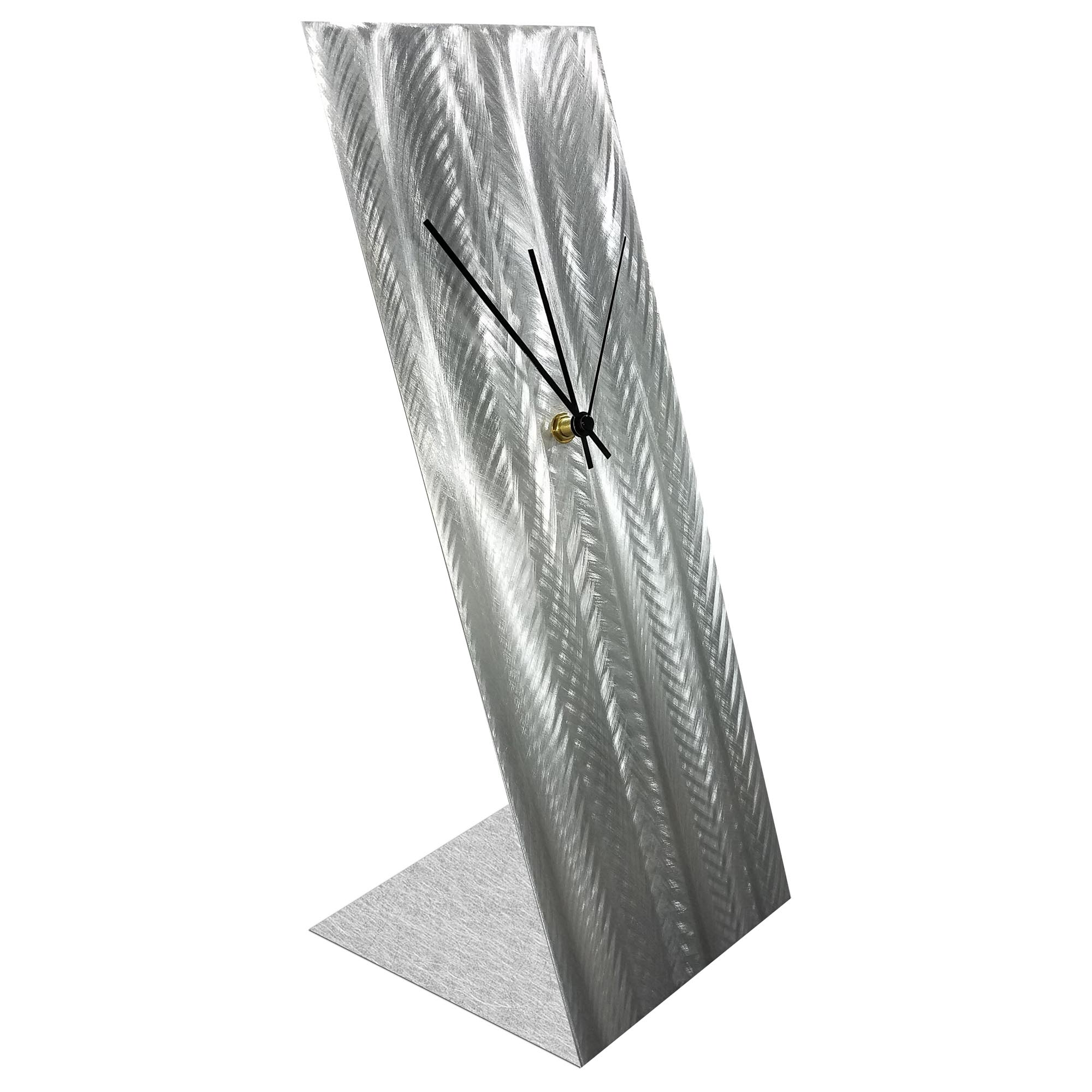Silver Lines Desk Clock by Helena Martin Modern Table Clock on Natural Aluminum - Image 2