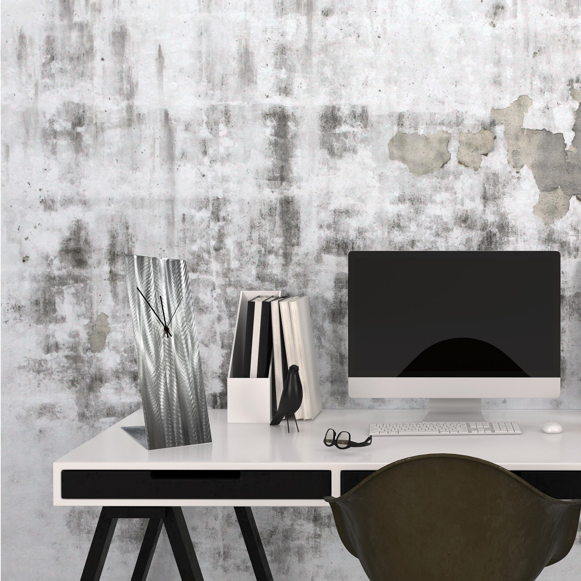 Silver Lines Desk Clock by Helena Martin Modern Table Clock on Natural Aluminum - Lifestyle View