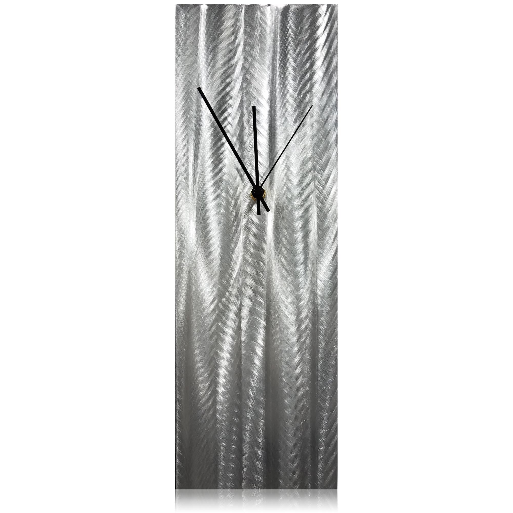 Silver Lines Desk Clock 6x18in. Natural Aluminum