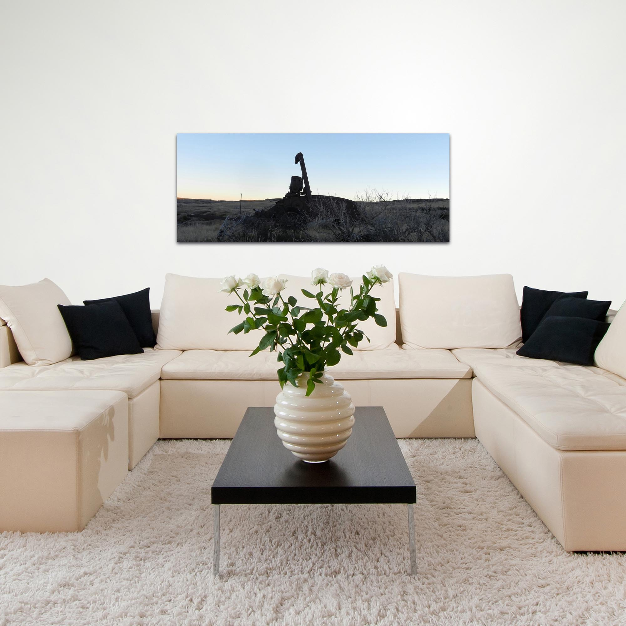 Western Wall Art 'Tractor Sunrise' - American West Decor on Metal or Plexiglass - Lifestyle View