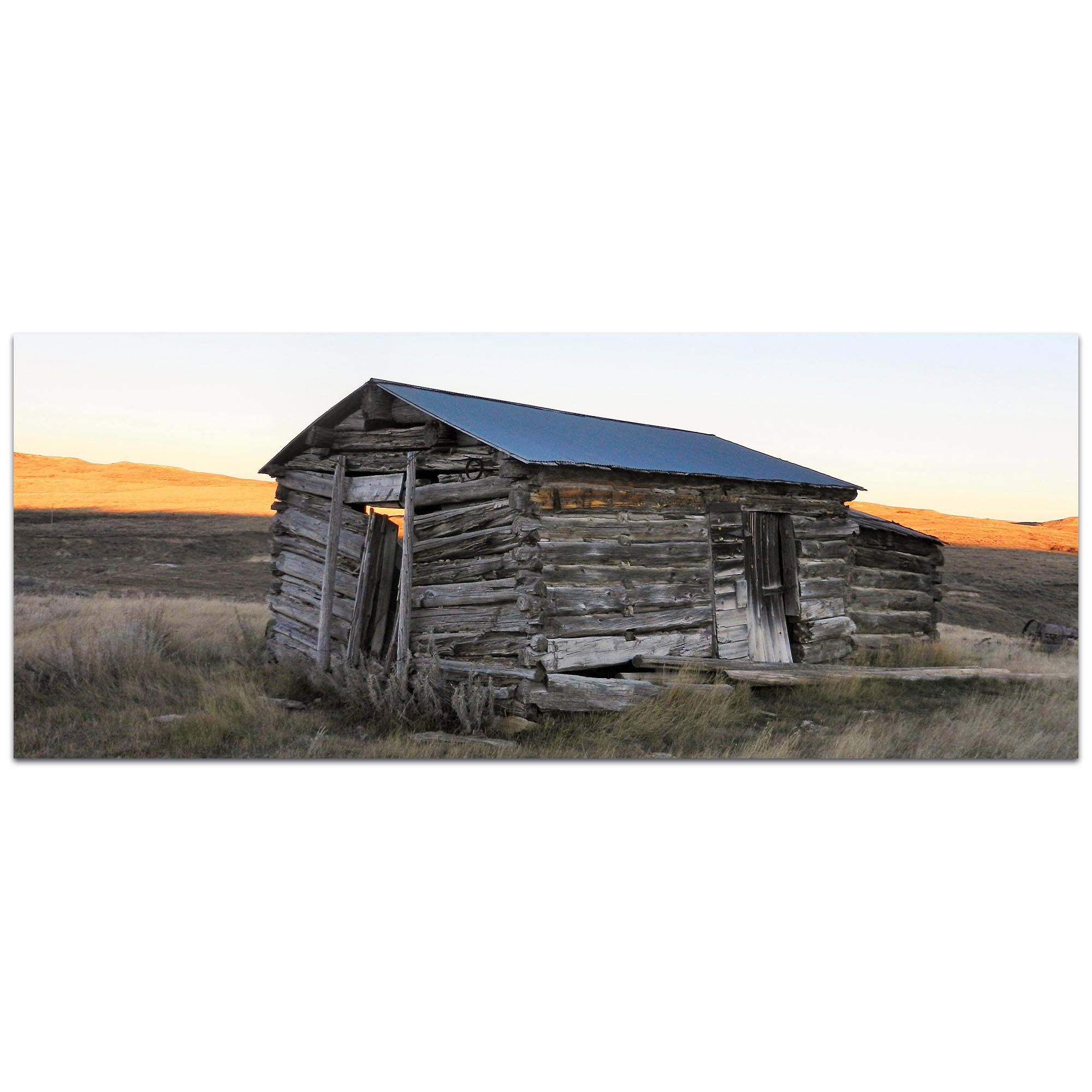 Western Wall Art 'The Log House' - American West Decor on Metal or Plexiglass