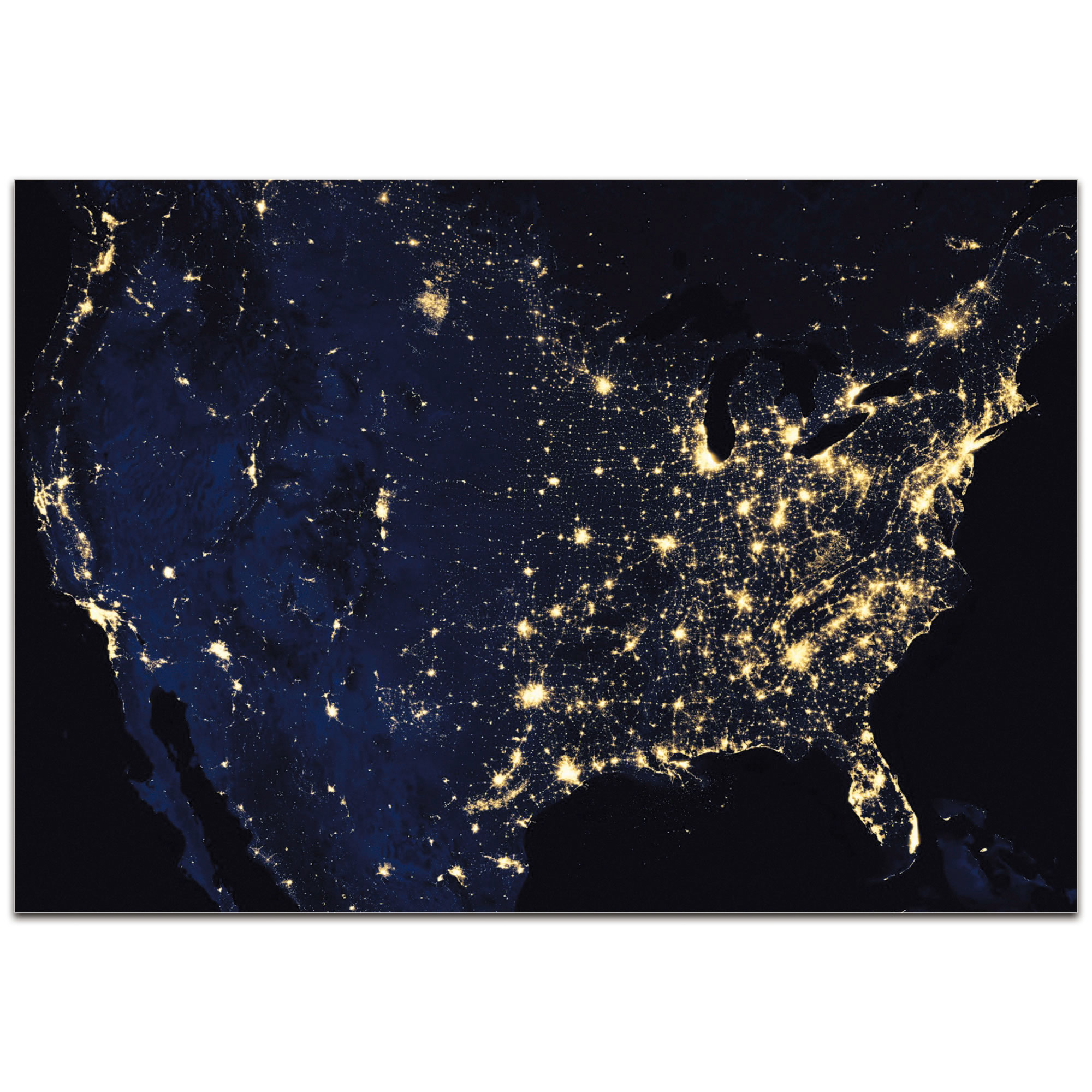 USA at Night - Modern Wall Decor