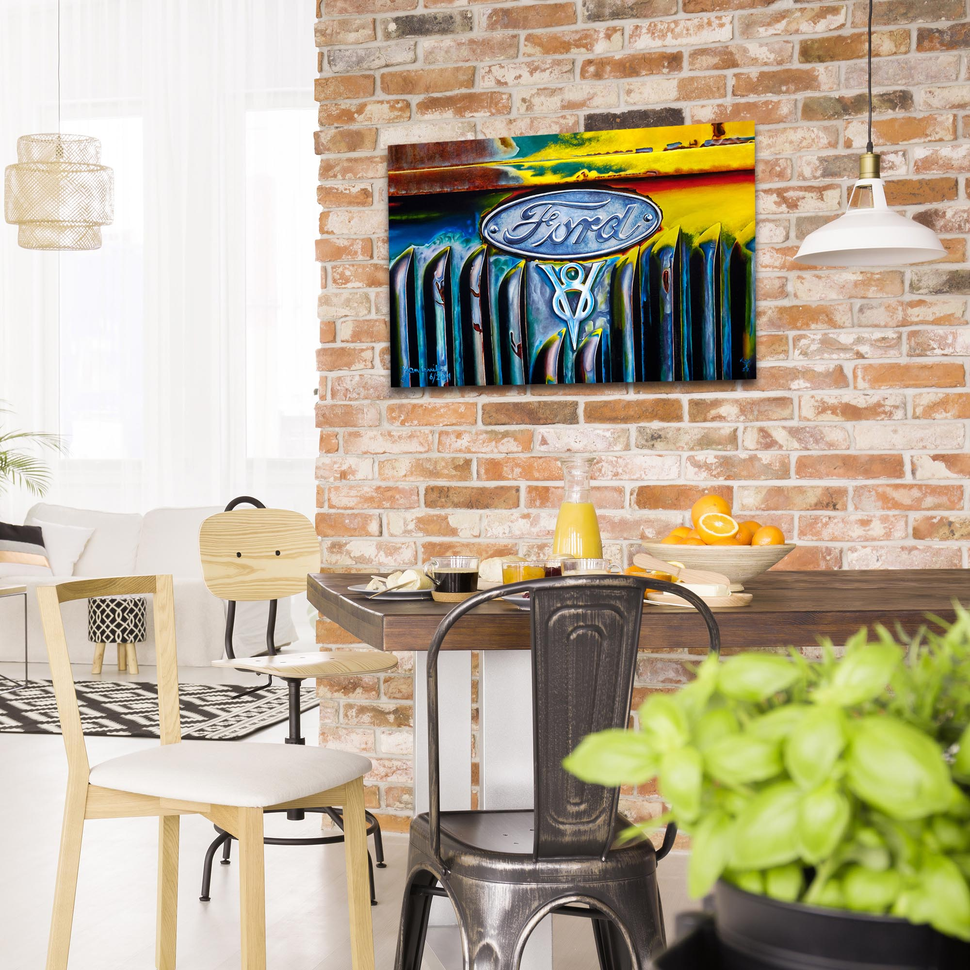 Americana Wall Art 'Forever Ford' - Classic Cars Decor on Metal or Plexiglass - Lifestyle View