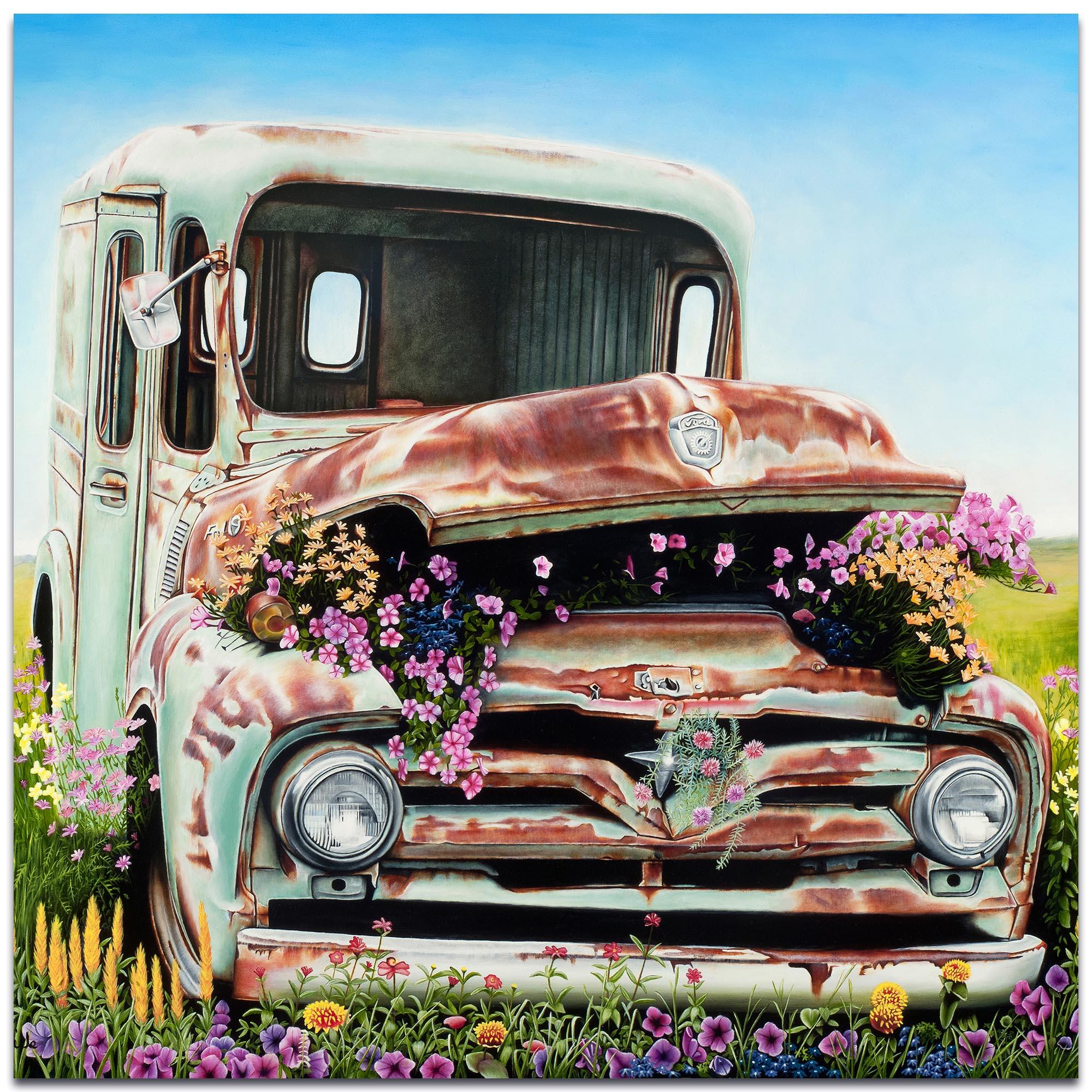 Americana Wall Art 'Got Flowers' - Classic Cars Decor on Metal or Plexiglass