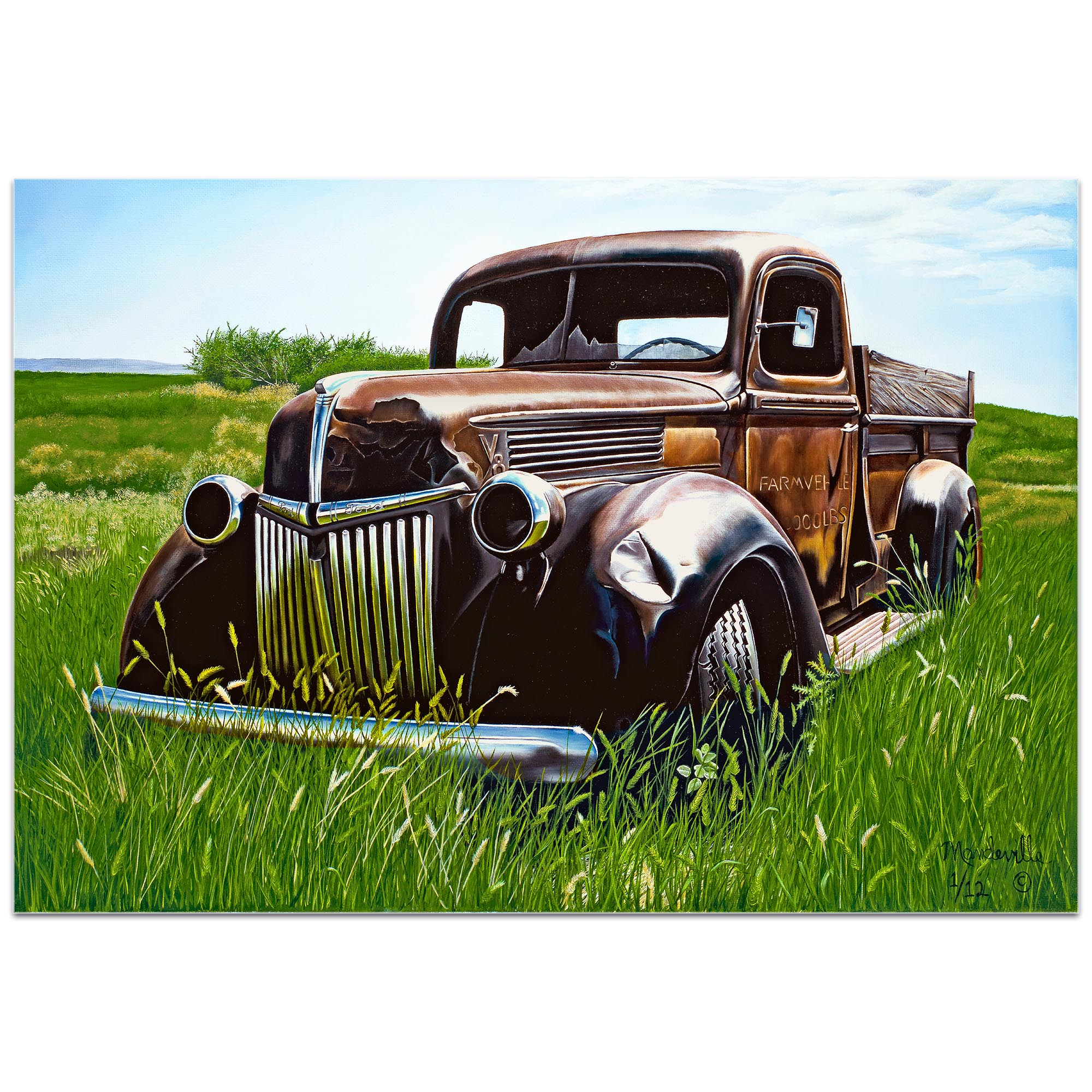 Americana Wall Art 'Out to Pasture' - Classic Trucks Decor on Metal or Plexiglass - Image 2