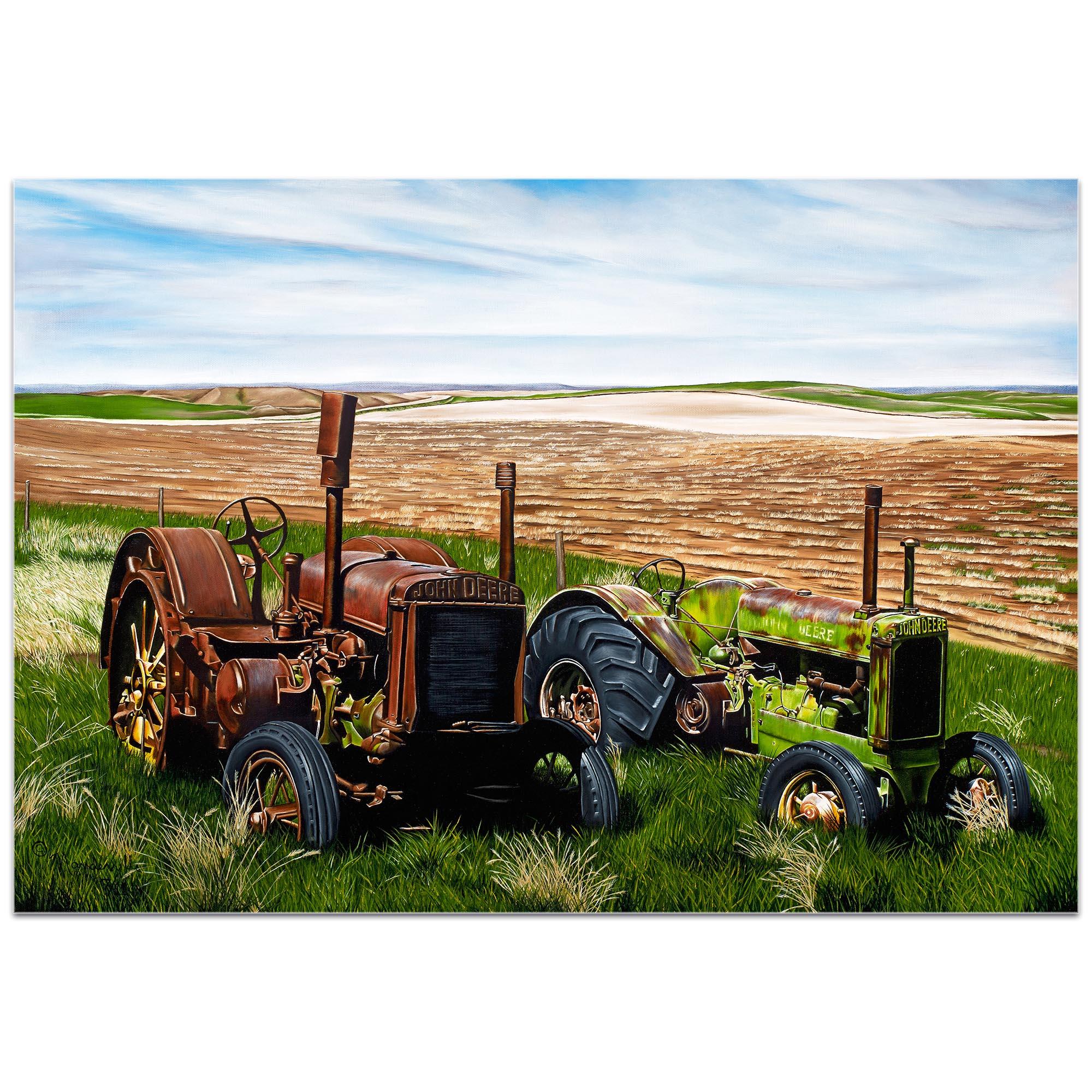 Americana Wall Art 'Two John Boys' - Classic Tractor Decor on Metal or Plexiglass - Image 2