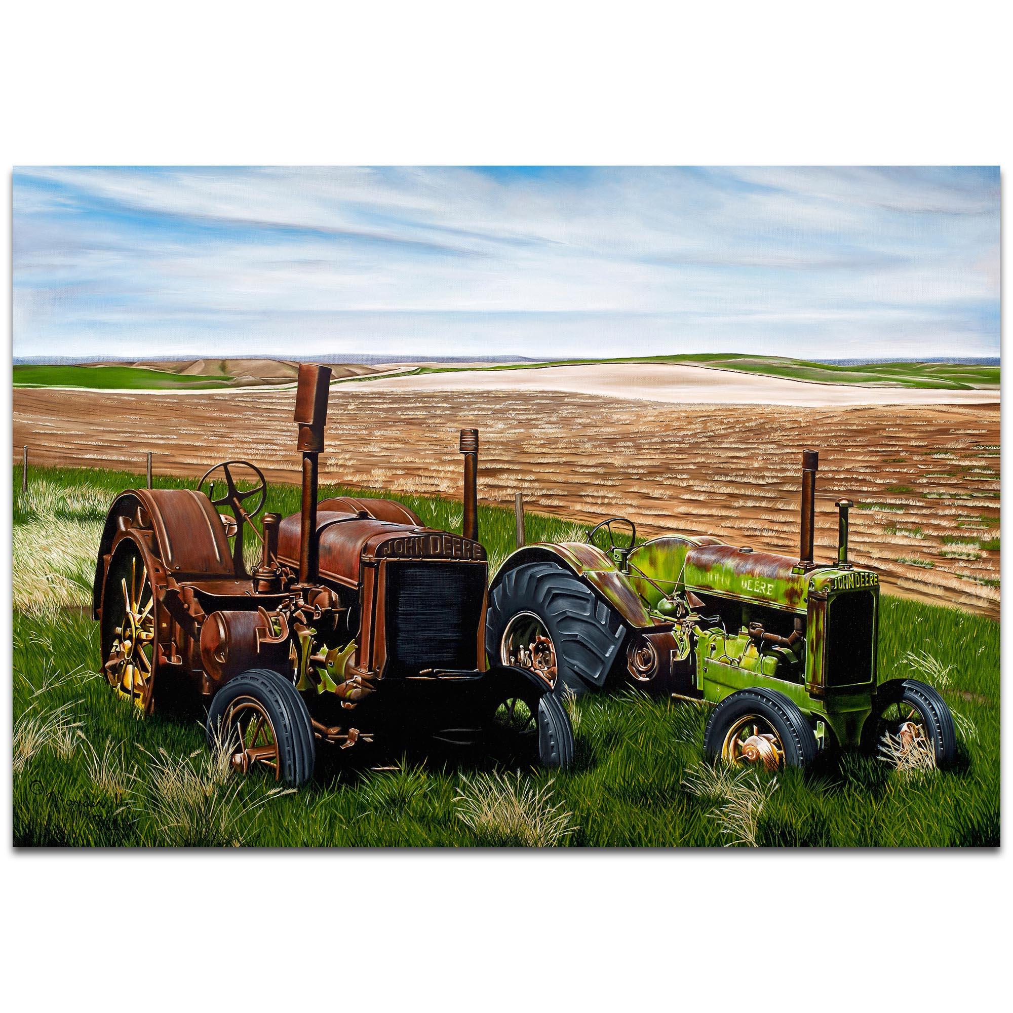 Americana Wall Art 'Two John Boys' - Classic Tractor Decor on Metal or Plexiglass