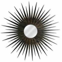 Midcentury Modern Decor MCM Starburst Mirror-Walnut - Walnut Plywood Wooden Sunburst Mirror