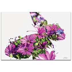 Butterfly Flowers by Adam Schwoeppe Animal Silhouette on White Metal