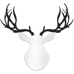 CONTEMPORARY BUCK - 36x36 in. White & Black Deer Cut-Out