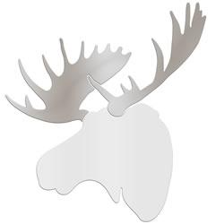REGAL MOOSE - 36x36 in. White & Silver Decor