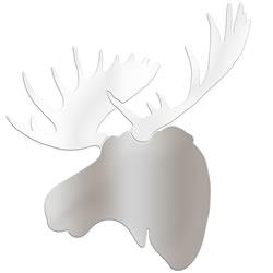 WINTER MOOSE - 36x36 in. Silver & White Decor