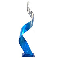 Helena Martin Crystal Blue Sculpture 10in x 34in Abstract Metal Art on Ground and Painted Metal
