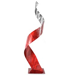Helena Martin Crystal Red Sculpture 10in x 34in Abstract Metal Art on Ground and Painted Metal