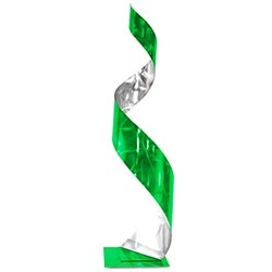 Helena Martin Green Curl Sculpture 9in x 35in Abstract Metal Art on Ground and Painted Metal