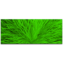 Helena Martin Blooming Green 60in x 24in Original Abstract Art on Ground and Painted Metal