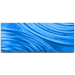Helena Martin Moment of Impact Blue 60in x 24in Original Abstract Art on Ground and Painted Metal