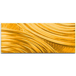 Helena Martin Moment of Impact Gold 60in x 24in Original Abstract Art on Ground and Painted Metal