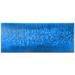Helena Martin Static Blue 60in x 24in Original Abstract Art on Ground and Painted Metal