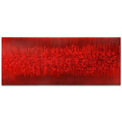 Helena Martin Static Red 60in x 24in Original Abstract Art on Ground and Painted Metal