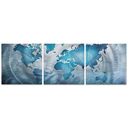 Land and Sea Triptych 38x12in. Metal or Acrylic Contemporary Decor