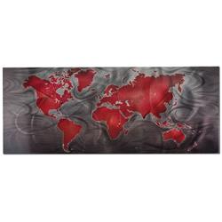 Red/Pewter Land & Sea - Modern Map Art