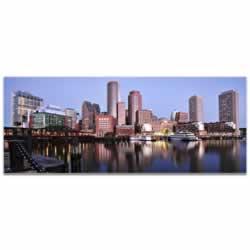 Boston City Skyline - Urban Modern Art, Designer Home Decor, Cityscape Wall Artwork, Trendy Contemporary Art