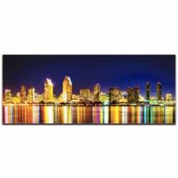 San Diego City Skyline At Night - Urban Modern Art, Designer Home Decor, Cityscape Wall Artwork, Trendy Contemporary Art