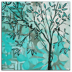 Dream Land Bird Haven - Abstract Painting Print by Megan Duncanson