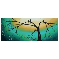 Family Perch - Abstract Painting Print by Megan Duncanson