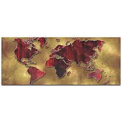 Eclectic World Map Golden World - Modern Map Art on Metal or Acrylic
