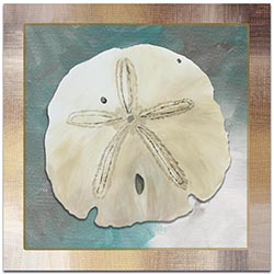 Beach Decor Silver Lining Sand Dollar - Coastal Bathroom Art on Metal or Acrylic
