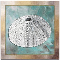 Beach Decor Silver Lining Sea Urchin - Coastal Bathroom Art on Metal or Acrylic