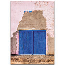 Eclectic Wall Art Blue Double Door - Architecture Decor on Metal or Plexiglass