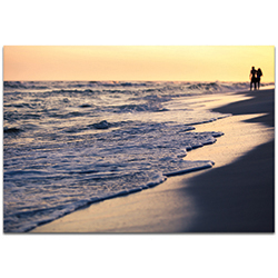 Coastal Wall Art Beach Stroll - Beach Sunset Decor on Metal or Plexiglass